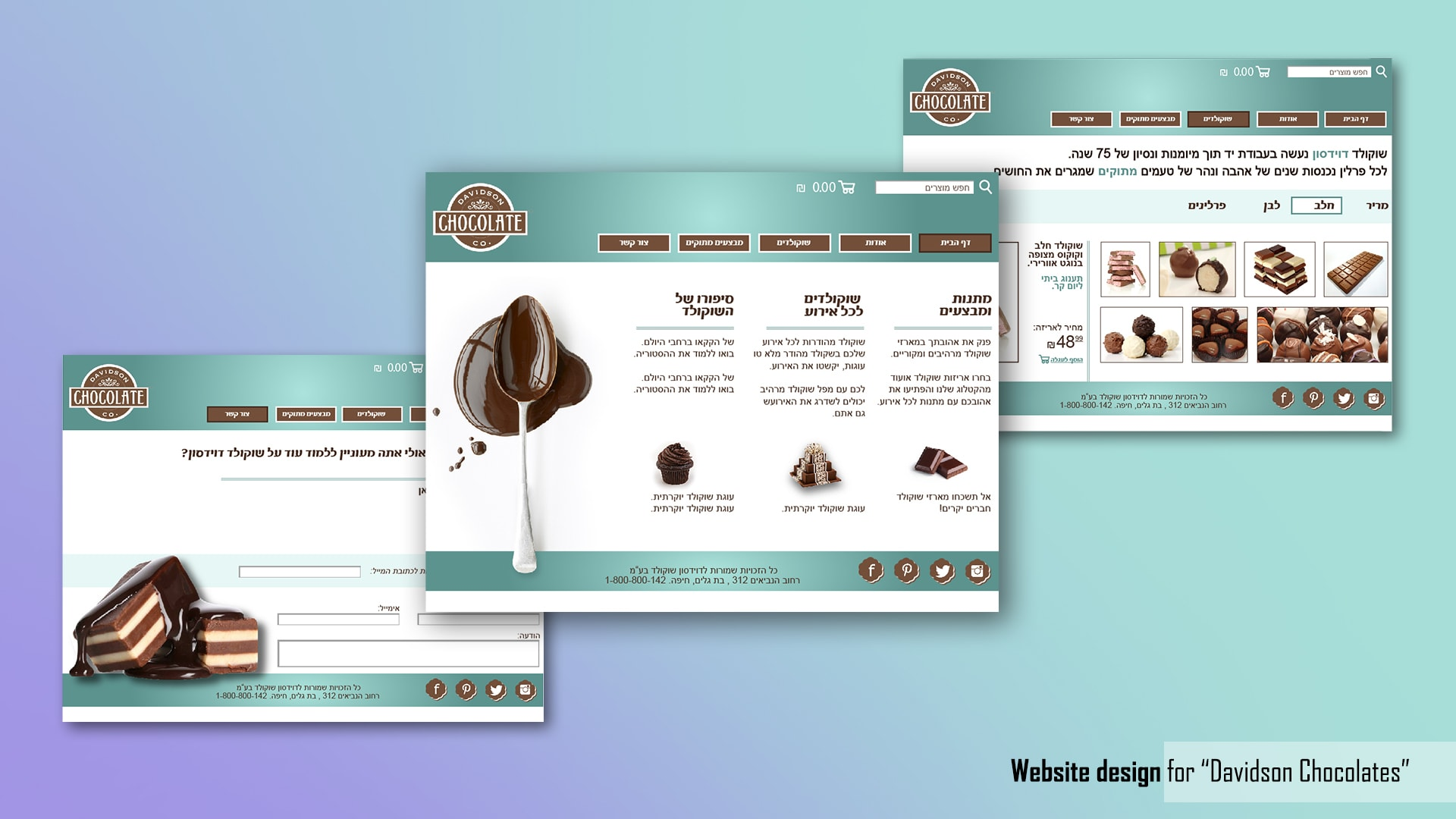 Website design - Davidson Chocolates